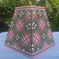 Lamp Shade 1950's Textile Cotton Plaid New Shade Red Olive Cream Square Frame Handmade Trim Olive Grosgrain Ribbon Trim Washer Top