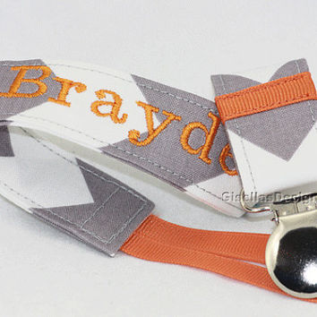 Handmade Personalized Pacifier Clip, Grey chevron and pumpkin pie pacifier clip, Baby shower gift idea.
