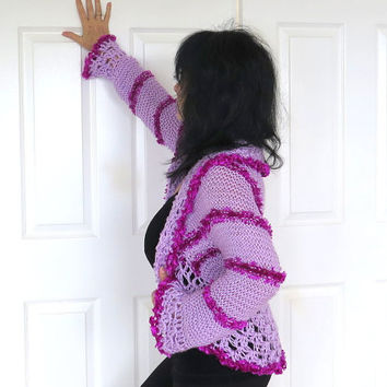 Soft cozy shrug with crochet edges, soft lilac hand knit sweater, gift for her, outerwear