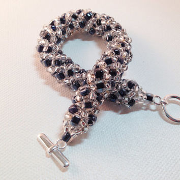 Sparkly New Year's crystal and black seed bead stitched spiral bracelet, crystal beadwoven bracelet, sparkle jewelry gift for her