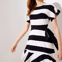 Striped Tie Waist Flounce Dress | LOFT