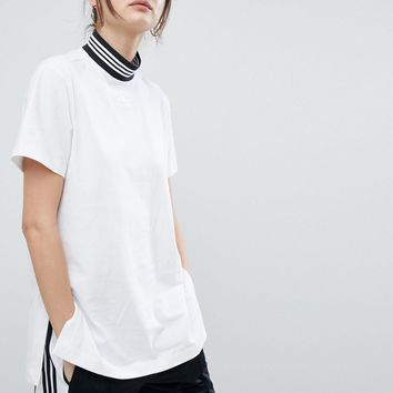 adidas Originals Striped High-Neck White Simple T-shirt