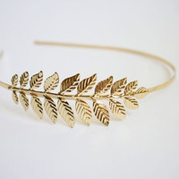 Gold leaf headband #bridal #bridesmaid #hair accessories #gold #leaf #greek