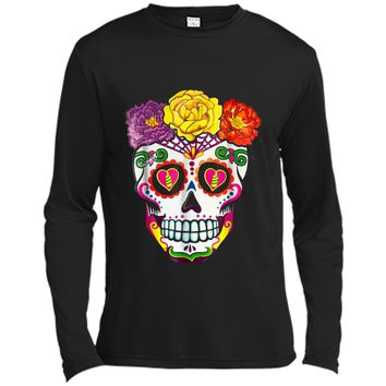 Colorful Flower Sugar Skull Day Of The Dead Costume  2 Long Sleeve Moisture Absorbing Shirt