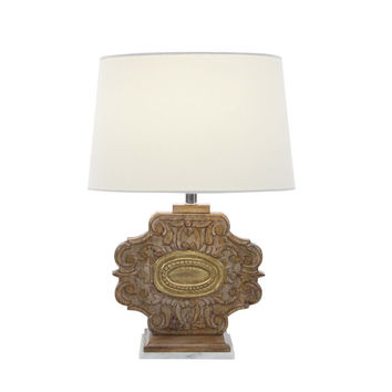 Artistically Carved Wood Marble Table Lamp