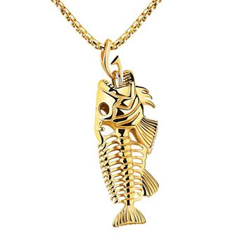 New Fish Bone Fish Skeleton Stainless Steel Pendant Surfer Chain Necklace