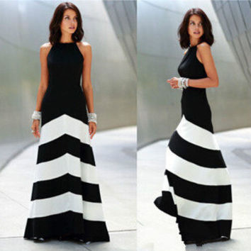 Stripes Patchwork Shaped Slim Stylish Sexy Prom Dress One Piece Dress [6339103681]