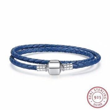 New Arrival 925 Sterling Silver Blue Snake Chain Adjustable Braided Rope Bracelets for Women Jewelry PAS910