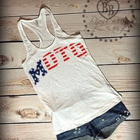 American Flag Moto -- Stars and Stripes -- Independence Day -- Fourth of July -- Moto Love USA --Racerback, Burnout Tank Top- Sizes S-XL.