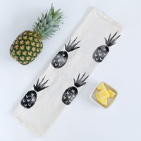NEW - Pineapple print tea towel - black - unbleached flour sack cotton