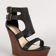 Bamboo Leatherette Double Buckle Open Toe Faux Wood Wedge