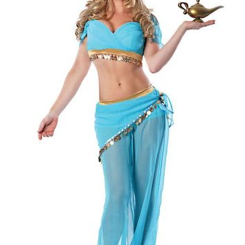 2017 Adult Womens Genie Jasmine Aladdin Princess Costume Fancy Dress Halloween Sexy Arabian Belly Dancer Costumes Arabic 8952