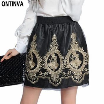 Golden Embroidery Tulle Skater Skirts Womens Floral Double Slit Skirt High Waist Skorts 2017 Summer Vintage Pleated Winter Skort