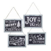Christmas Chalkboard Sign Christmas Ornaments, Black, -Inch, 4-Piece