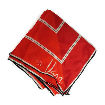 1960s Scarf / Vintage Vera Neumann Large Square Silk Scarf, Red White and Black Pinstripe Scarf