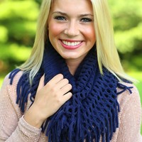 Fancy the Fringe Infinity Scarf in Navy
