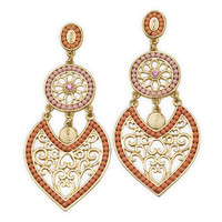 Ornate Gold Tone Fashion Earrings with Pink and Orange Beads