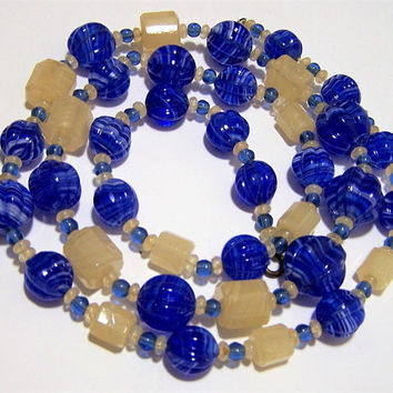 Art Deco Marbled Blue Art Glass Bead Necklace, Octoganal Cream Beads, Something Blue, 30 Inches, Vintage Wedding Jewelry  917