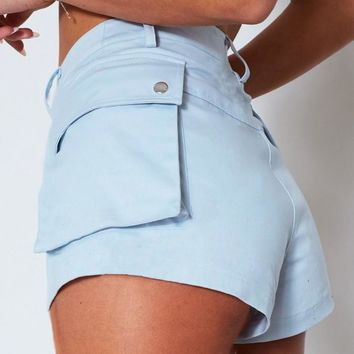 Baby Blue High Waist Shorts