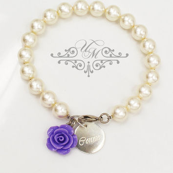 FREE TEXT Wedding Jewelry Customize Name Bracelet Personalized Name Bracelet Swarovski Pearl Bracelet Flower girl Bracelet - R28