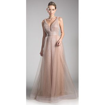 Mauve A-line Long Formal Dress Ruched Bodice