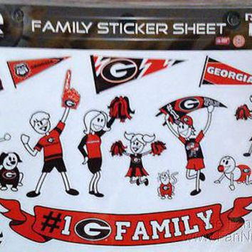 Georgia Bulldogs Family Spirit LARGE Window Decal Sheet Football University of