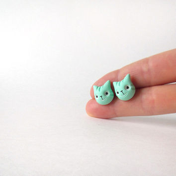 Two stud earrings (two heads without bodies) - mint Cheshire cats - hand painted polymer clay jewelry