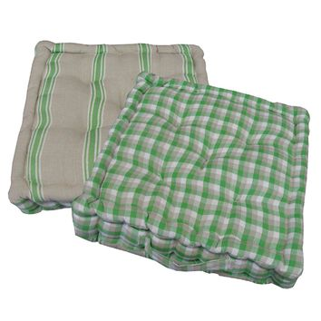 "15"" Plush Green  White and Beige Plaid and Striped Reversible Indoor Chair Cushion"