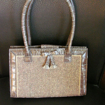 Vintage Liz Claiborne Designer Handbag Purse (Brown Tweed & Vinyl Leather)