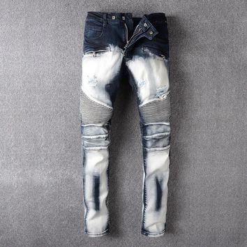 qiyif Mens Ripped Jeans  Runway Distressed Slim Elastic Jeans