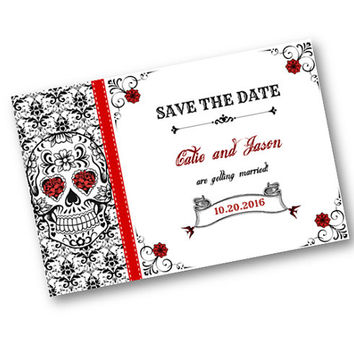 Wedding Save the Date Sugar Skulls Day of the Dead Tattoo red white and black damask roses Custom Printable Download