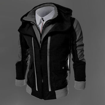 Two Layer Zipper Hoodies and Sweatshirt Color Contrast Men Hoody Jacket Sudaderas Hombre 3 Colors