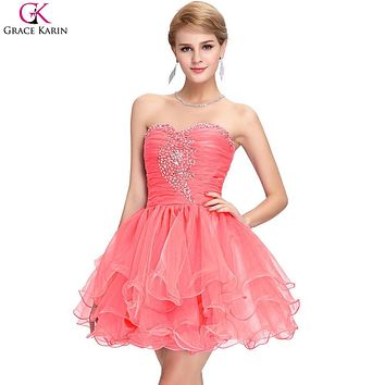 Grace Karin Short Cocktail Party Dress 2017 New Knee Length Ball Gown Homecoming Graduation Dress Beaded Short Prom Dresses 6077