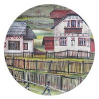 Transylvania, Romania, Picturesque Painted Scenery Melamine Plate
