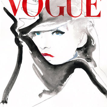 "Fashion Illustration, Watercolor, Print 11"" x 8.5"" - Vogue Cover Red Black White"