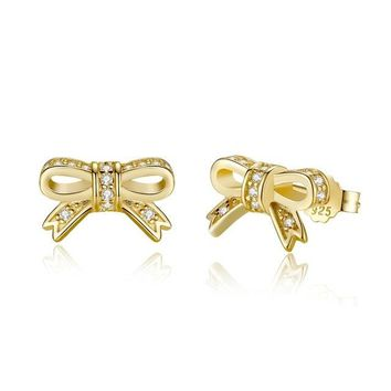 Delicate 100% 925 Sterling Silver Sparkling Bow Stud Earrings With Clear CZ Women Party Luxury Jewelry