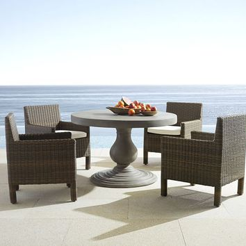 GENEVA CONCRETE ROUND DINING TABLE & TORREY CHAIR SET - ESPRESSO