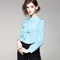 Silk Blouse Women Lightweight Fabric Solid Patchwork Stand Neck Long-Sleeves Formal Tops