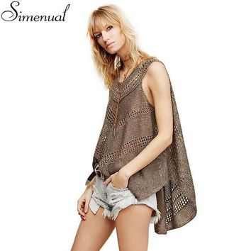 Irregular Knitted Women Tank Sleeveless Summer Tops 2016 Fashion New Slim Hollow Out Sexy Hot Long Cover Up Solid Ladies Tanks
