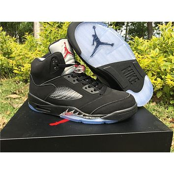 Air Jordan Retro 5 V Black Metallic Og Gold Medal Olympic Basketball Shoes With Box