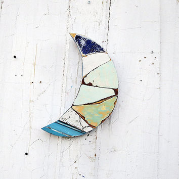 Blue Moon Art, Reclaimed Wood Mosaic, Crescent Moon, Nursery Decor, Moon Wall Decor, Mosaic Wall Hanging, Recycled Wood Mosaic