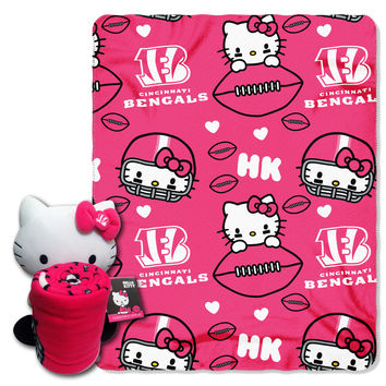 Bengals  40x50 Fleece Throw and Hello Kitty Character Pillow Set