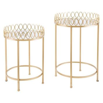 A10767 Set Of 2 Tray Tables Gold