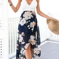 Backless Floral & Lace Chiffon Maxi Dress