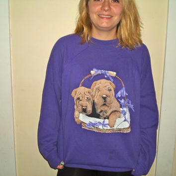 90s Bright Purple Shar pei Dog Crewneck Sweatshirt Basket Sweater