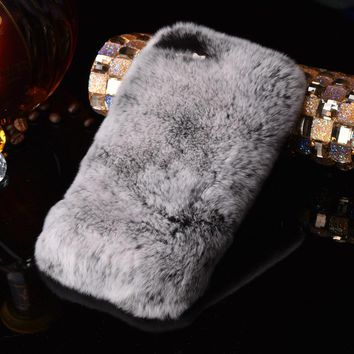 Luxury Rabbit Fur Case for iPhone 8 7 6 6S Plus SE 5 5S Cover Fashion Bling Diamond Winter Soft Furry Shell Plush Phone Cases