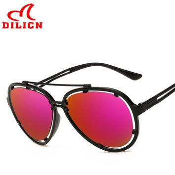 DILICN Plastic Frame Purple Mirror Sunglasses Men Retro Design Aviator Sun Glasses 2017 Women Trendy Cool Pilot Eyewear UV400