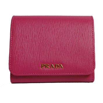 Prada Women's Wallet Vitello Move Bi Fold Fushia 1MH176
