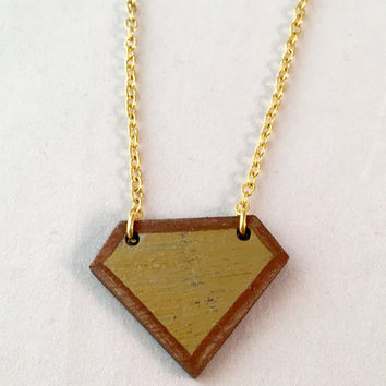 Hand painted wooden diamond pendant.  Modern geometric laser cut wood necklace with gold leaf accents and gold plated chain. Simple and OOAK