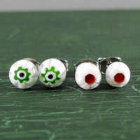 Surgical Steel Stud Earrings, White with Red or Green Millefiori Flower, Small Earrings, Stocking Stuffer